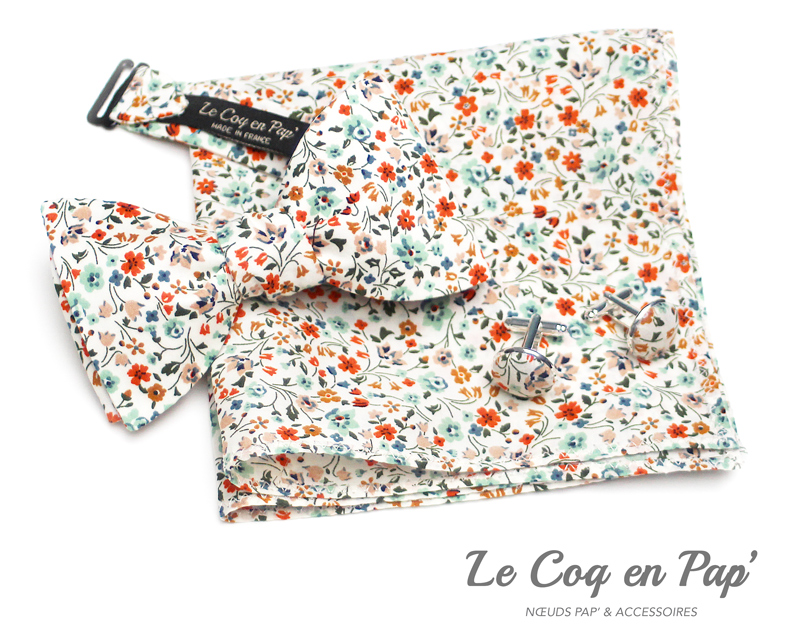 Coffret-trio-noeud-papillon-Liberty-Orange-vert-deau-blanc-Le-Coq-en-pap