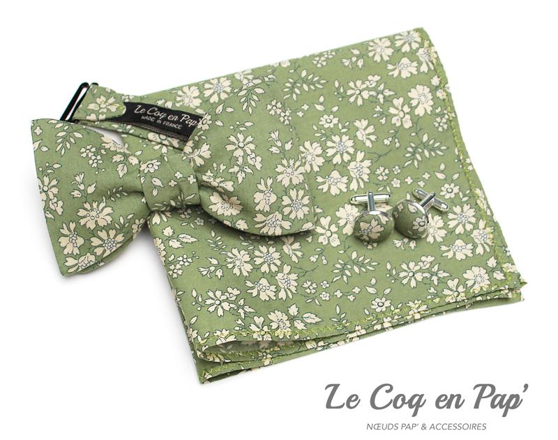 Coffret-trio-noeud-papillon-Liberty-vert-olive-Cappel-Le-Coq-en-pap