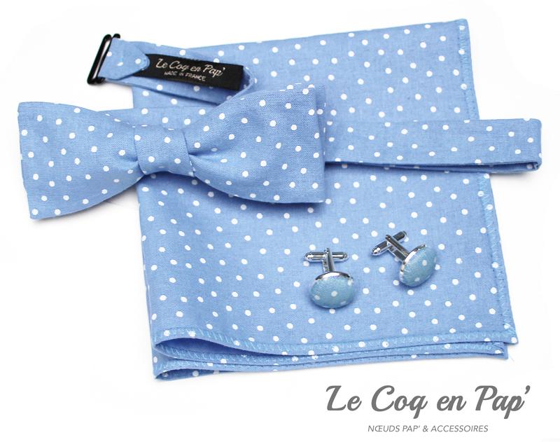 Coffret-trio-noeud-papillon-bleu-ciel-à-pois-Le-Coq-en-pap