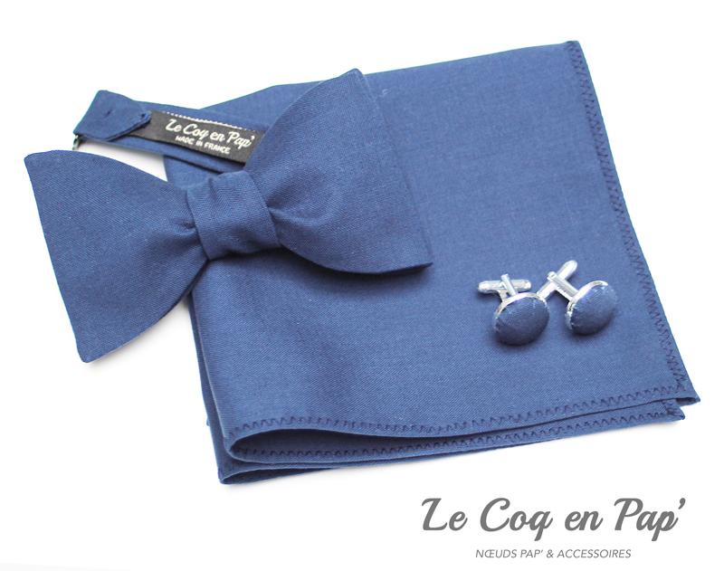 Coffret-trio-noeud-papillon-bleu-marine-coton--Le-Coq-en-pap