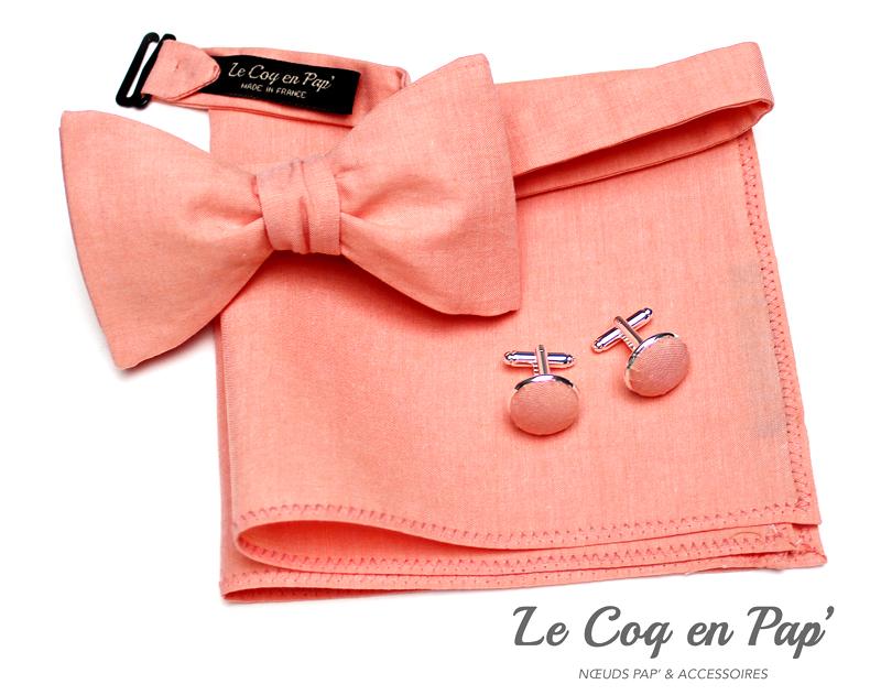 Coffret-trio-noeud-papillon-chambray-corail-Le-Coq-en-pap