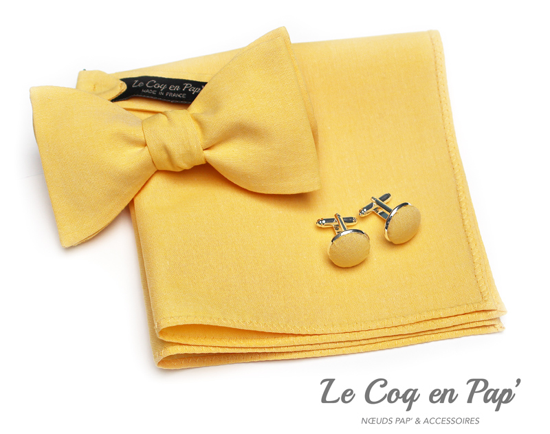 Coffret-trio-noeud-papillon-chambray-jaune-Le-Coq-en-pap