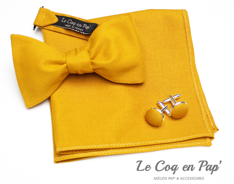 Coffret-trio-noeud-papillon-jaune-moutarde-Le-Coq-en-pap.