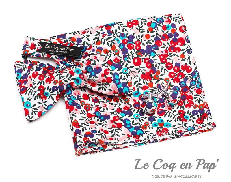 Coffret-trio-noeud-papillon-liberty-rouge-cerises-Le-Coq-en-pap