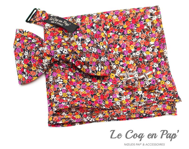 Coffret-trio-noeud-papillon-liberty-rouge-noir-mauve-jaunel-Le-Coq-en-pap