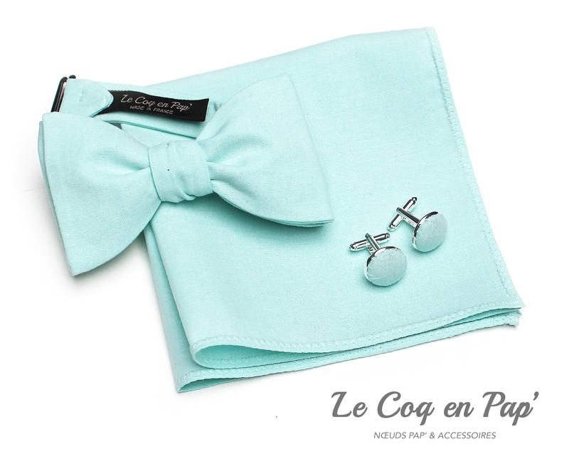 Coffret-trio-noeud-papillon-vert-deau-Le-Coq-en-pap