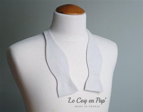 Noeud papillon chambray crème uni sur mesure noué ou dénoué Le Coq en Pap