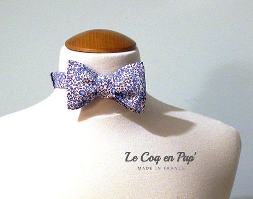 Noeud papillon liberty fleur bleu violet Le Coq en Pap