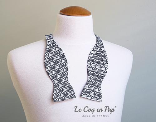 Noeud-papillon-motif japonais sigaigha Gris anthracite et blanc Le Coq en pap