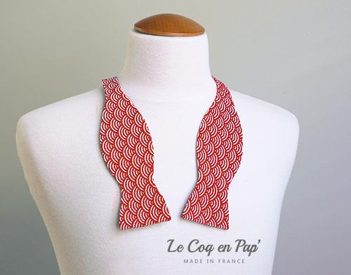 Noeud papillon motif japonais sigaigha rouge et blanc Le Coq en pap