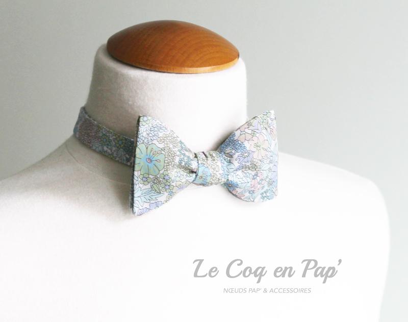 Liberty-fleuri-doux-noeud-papillon-bleu-parme-vert-Le-Coq-en-Pap.