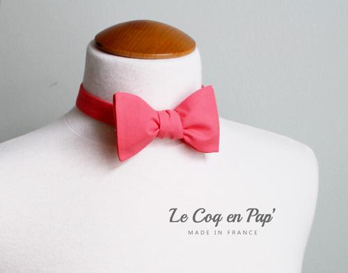 Noeud-Papillon-uni-coton-rose-corail-lecoqenpap.