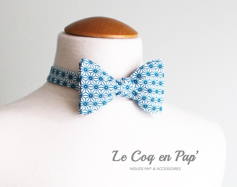 Noeud-papillon-Asanoha-Bleu-canard-Lecoqenpap