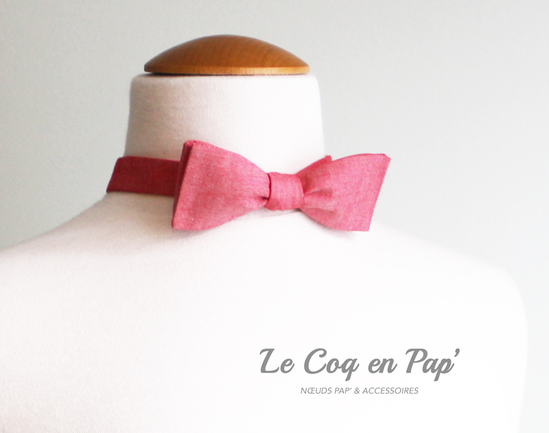 Noeud-papillon-Slim-rouge-chambray-Le-Coq-en-Pap
