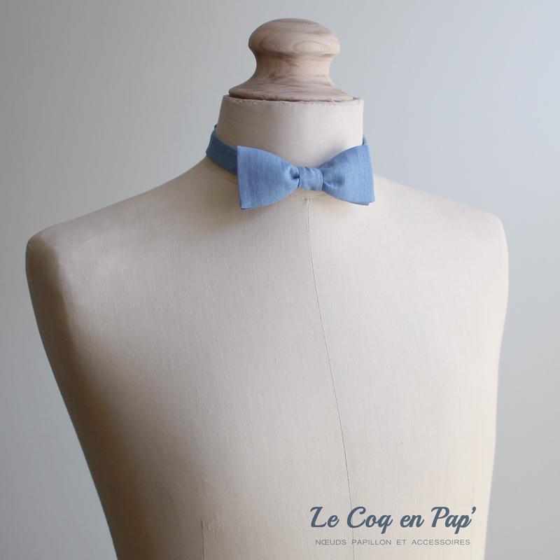 Noeud papillon bleu chambray jean-clair-fruit-blanc-slim-fait-main-le-coq-en-pap