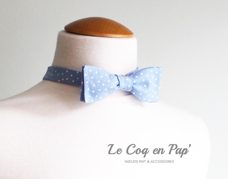 Noeud-papillon-bleu-ciel-à-pois-slim-Le-Coq-en-Pap