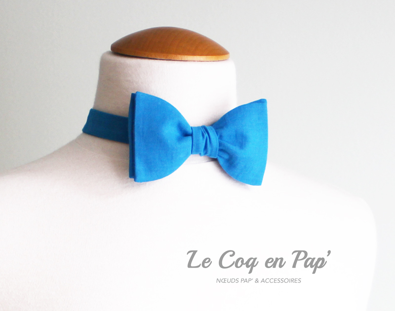 Noeud-papillon-bleu-vif-coton-lecoqenpap