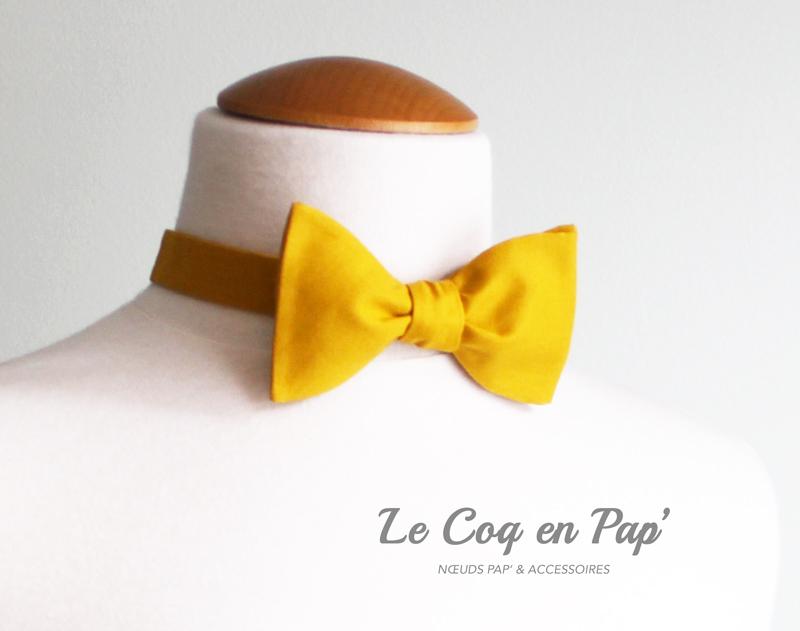 Noeud-papillon-coton-jaune-safran-Le-coq-en-pap