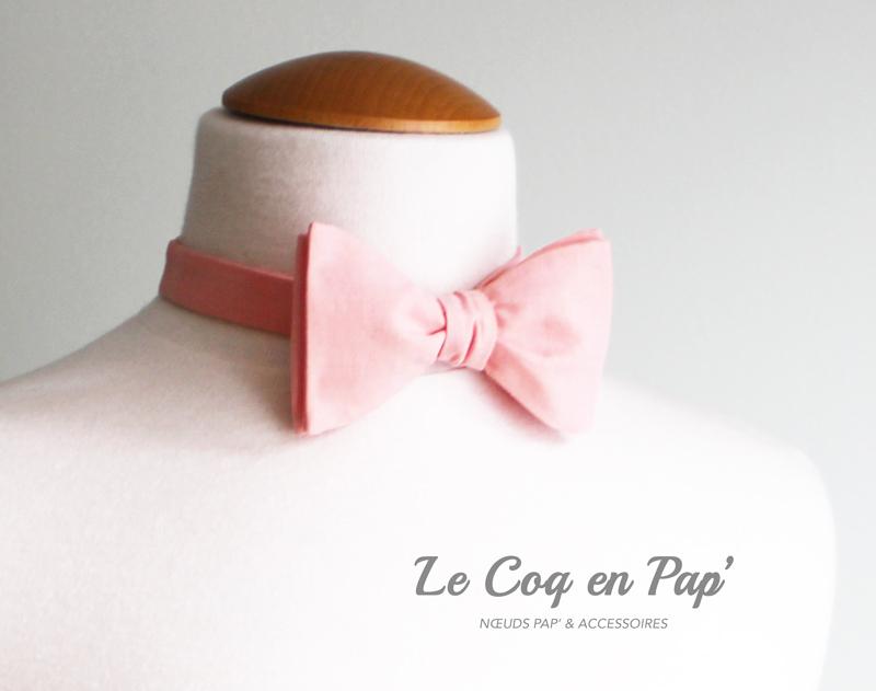 Noeud-papillon-coton-rose-poudré-Le-Coq-en-Pap