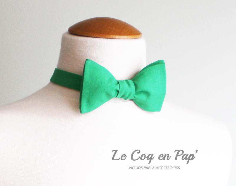 Noeud-papillon-coton-uni-vert-Le-Coq-en-Pap