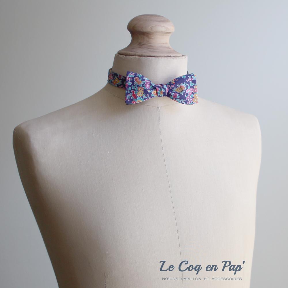 Noeud papillon liberty bleu-violet-turquoise-london-slim-fait-main-le-coq-en-pap
