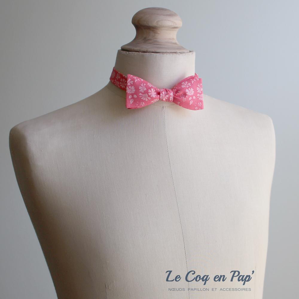 Noeud papillon liberty cappel rose corail-london slim-fait-main-le-coq-en-pap