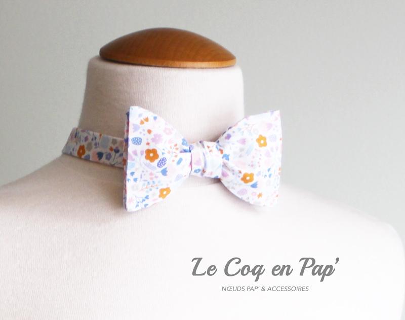 Noeud-papillon-liberty-fleuri-rose-bleu-orange-lecoqenpap