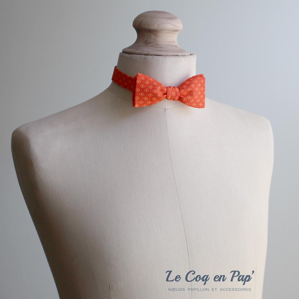 Noeud papillon orange motifs-slim-fait-main-le-coq-en-pap