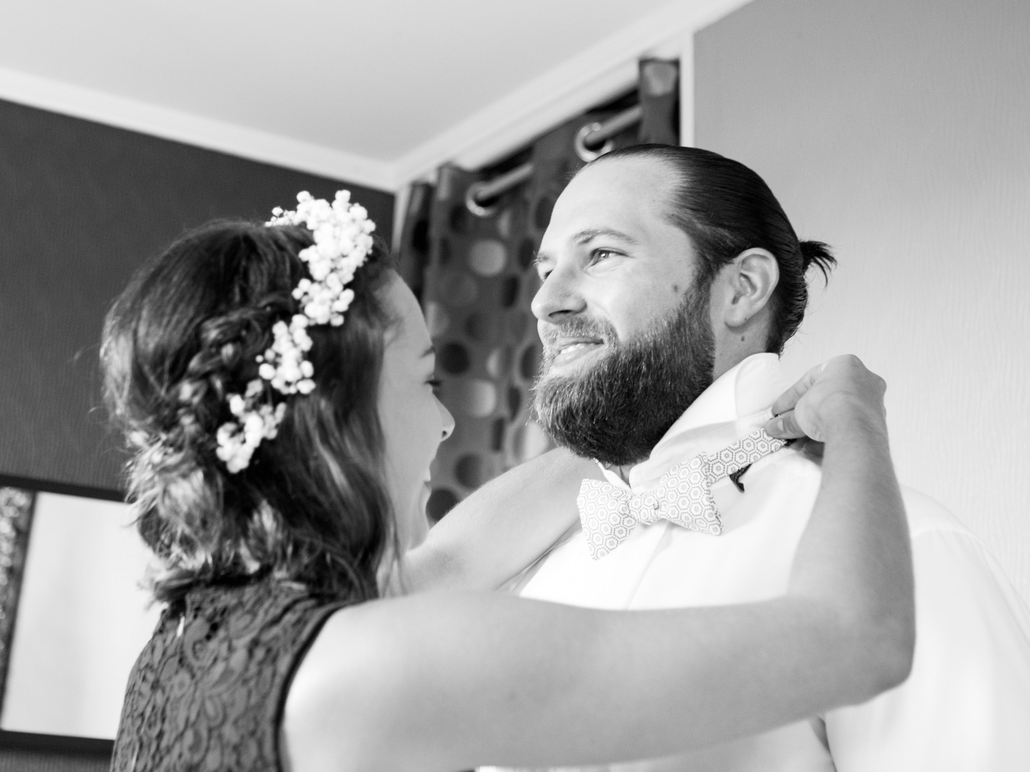 Preparation marié noeud papillon le coq en pap