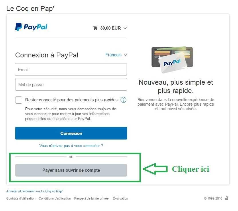 payer sans ouvrir de compte paypal