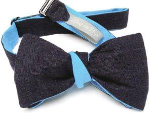 Le Coq en Pap' - Noeud papillon bleu nuit bleu clair lin twist
