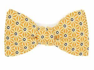 Le Coq en Pap' - Noeud papillon jaune moutarde japonais saki
