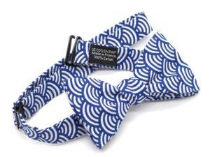 Le Coq en Pap' - Noeud papillon bleu roi japonais seigaiha