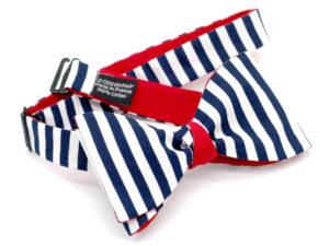 Le Coq en Pap' - Noeud papillon marine et blanc rayé revers rouge marin