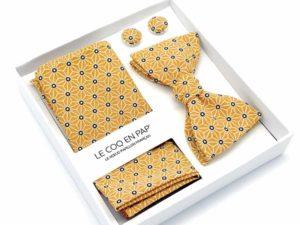 Le Coq en Pap' - Coffret noeud papillon jaune moutarde japonais saki