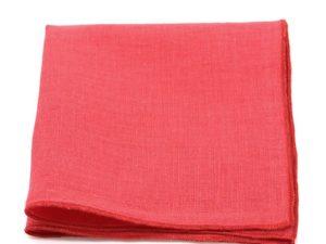 Le Coq en Pap' - Pochette de costume rouge grenadine uni en lin