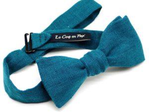 Le Coq en Pap' - Noeud papillon bleu canard uni en lin