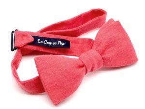 Le Coq en Pap' - Noeud papillon rouge grenadine uni en lin