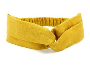 Le Coq en Pap' - Bandeau turban jaune moutarde uni en lin