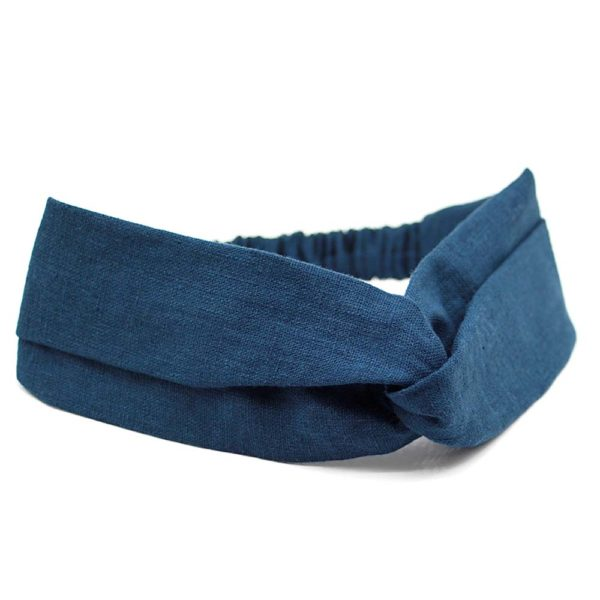 Le Coq en Pap' - Bandeau turban bleu marine uni en lin