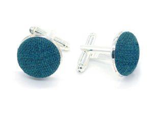 Le Coq en Pap' - Boutons de manchette bleu canard uni en lin