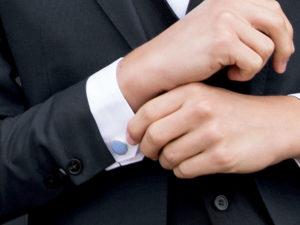 Le Coq en Pap' - Boutons de manchette bleu ciel uni en lin