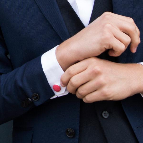 Le Coq en Pap' - Boutons de manchette rouge grenadine uni en lin