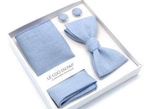 Le Coq en Pap' - Coffret noeud papillon bleu ciel uni en Lin