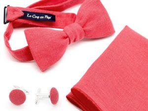 Le Coq en Pap' - Coffret noeud papillon rouge grenadine uni en lin