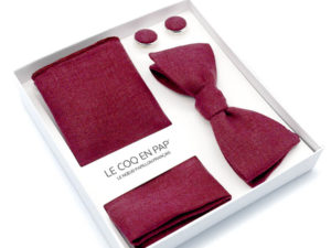 Le Coq en Pap' - Coffret noeud papillon rouge aubergine uni en lin
