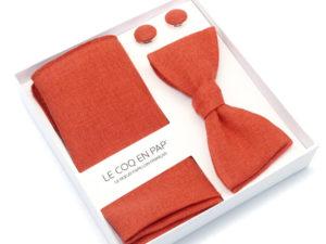 Le Coq en Pap' - Coffret noeud papillon rouge rouille uni en lin