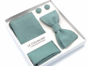 Le Coq en Pap' - Coffret noeud papillon vert céladon uni en lin