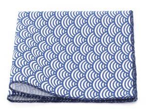 Le Coq en Pap' - Pochette de costume bleu roi japonais seigaiha
