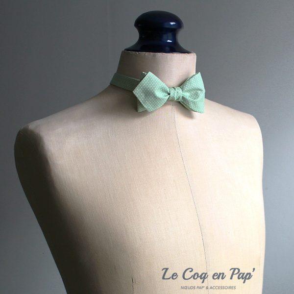 Le Coq en Pap' - Noeud papillon vert Amande à Pois